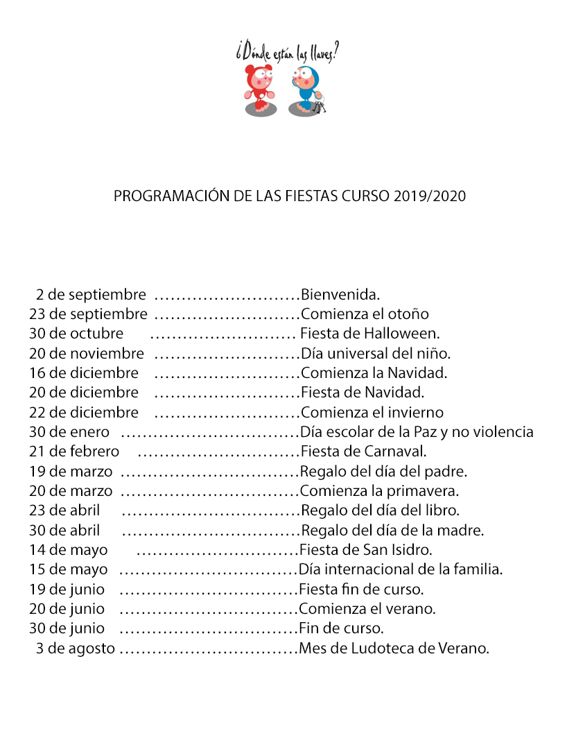 guardería en Madrid calendario