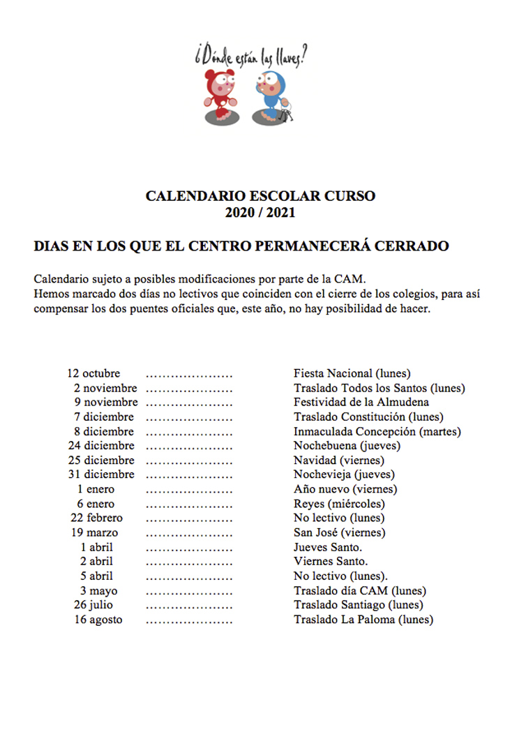guardería en Madrid calendario